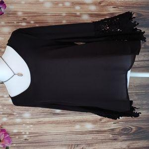 Black boho sheer shirt crochet bell sleeve medium